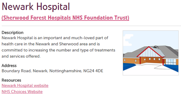 Newark Hospital service page