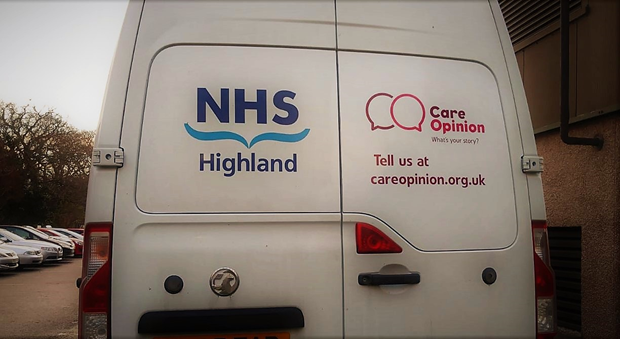 Care Opinion promotion on NHS Highland van