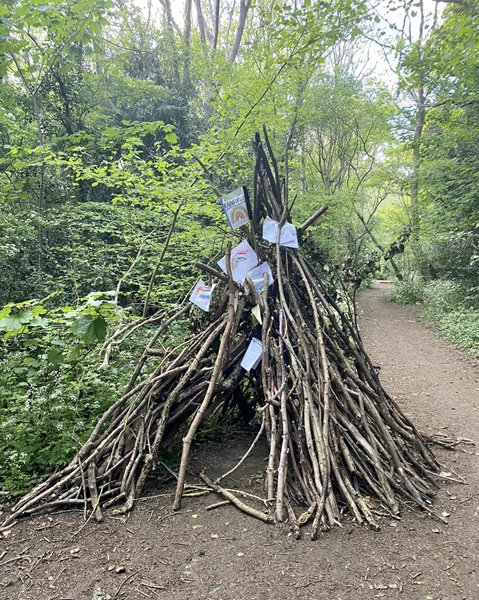 A woodland tribute to the NHS and keyworkers. Credit: Zara Kesterton.