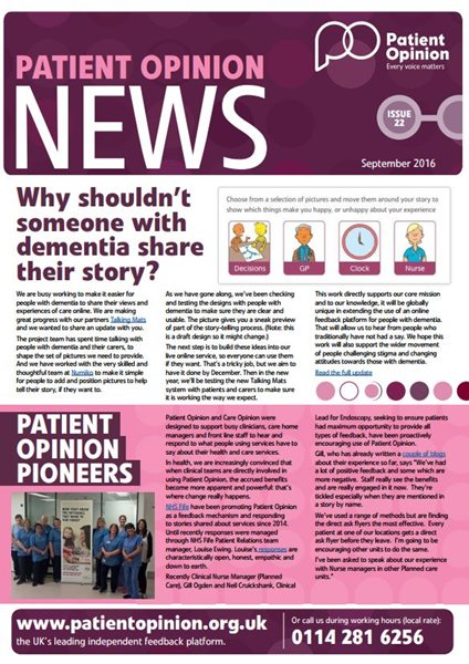 Patient Opinion newsletter